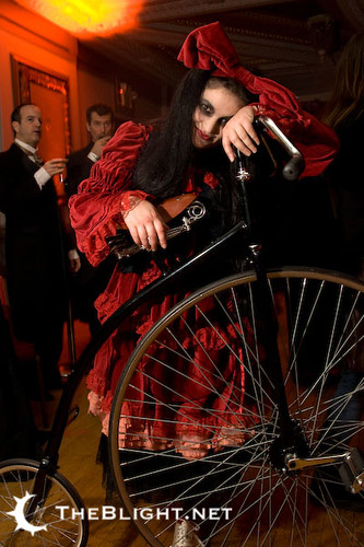 Meredith Yayanos and her Penny Farthing at the Edwardian Ball 2009