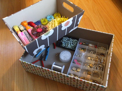 Orla Kiely boxes - ribbon straw flowers + beading projects