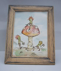 Timber! (Knottwood) Tags: original silly mushroom painting funny bright watercolour toadstool humourous