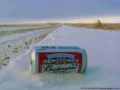 Budweiser - King of Beers (westrock-bob) Tags: road county blue red sky copyright brown white snow canada cold ice beer grass bar rural happy photography code aluminum king beers horizon joy tracks bob ab can alberta ingredients budweiser 2009 gravel allrightsreserved lager westrock kanada ruts kanata cuthill aplusphoto kneehill westrockbob bobcuthillphotographygmailcom