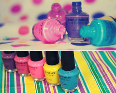 * Girls Love C o l o r s <3 ~ (*S  7  ~ E     ) Tags: pink blue colors lines yellow canon eos rebel purple circles violet fuschia manicure dots xsi girlish blueribbonwinner 450d