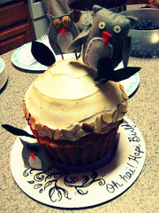 orange-vanilla almond white-cupcake owl cake (kaitlynmeanspure) Tags: orange leaves cake felt birthdaycake almonds icing stitching vanilla owls buttoneyes owlbabies