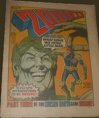 2000AD Prog 77, with a very large green coloured character holding Dredd and saying 'Ho Ho Ho'. Art Brian Bolland (flickr)