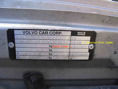 On the 1998 Volvo S70 GLT the paint code is the three digit number located on the middle right side of the VIN plate. The interior trim code is a four digit number right above the paint code.