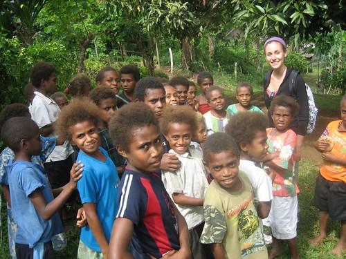 Hannah and schoolchildren, Loltong, Pentecost Island