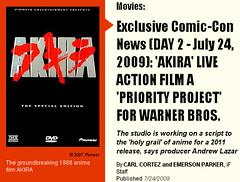 090729(2) - 好萊塢電影版『光明戰士 AKIRA』計劃依然健在,只是將延後到2011年首映