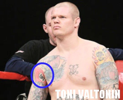 a tattoo found in the arms of Toni Valtonen, an MMA fighter of Finland.
