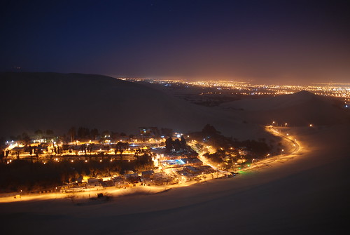 Huacachina at 1AM with Ica in the Background