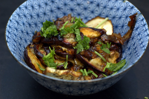pomegranate molasses glazed eggplant