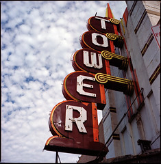 tower • oklahoma city, ok • 2009 (lem's) Tags: city tower oklahoma sign route66 neon theatre 66 route bronica americana ok motherroad zenza
