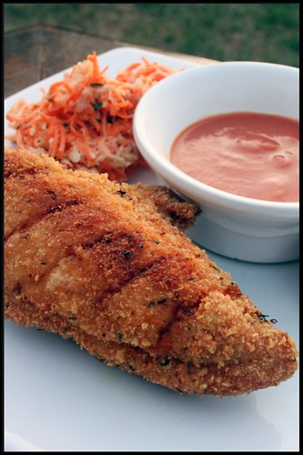 3934523249 58deeb5c22 Southern Fried chicken, sauce ketchup maison et coleslaw