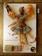 En trabajo... (DianaVaras) Tags: art daddy toy doll dad phone clown barbie virgin payaso telefono virgen cuadro comunicacion