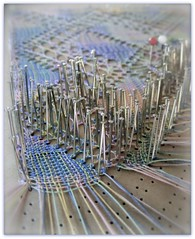 Pinned... (ElbtheProf) Tags: diy lace craft pins cotton pastels tradition weaving patience threads pinned lacemaking pricking macromondays