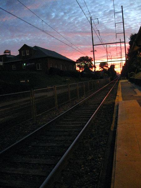 Sunrise Over the Light Rail Tracks (Click to enlarge)