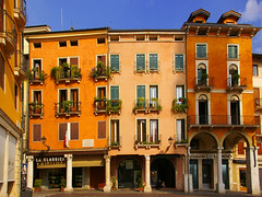 Vicenza Faades (albireo2006) Tags: windows wallpaper italy colour building architecture wow italia background italie vicenza portico veneto piazzadeisignori itaien