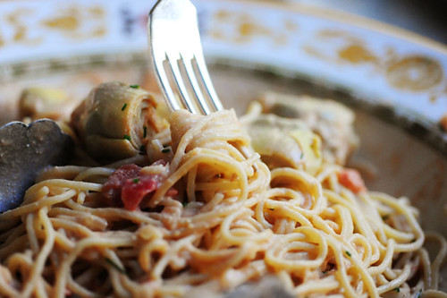 Spaghetti with Artichoke Hearts and Tomatoes: