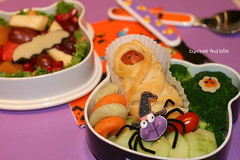 Halloween Week Bento #4 - Hello Mummy (Bunches and Bits {Karina}) Tags: fruit tomato spider cucumber broccoli yam bento veggie mummy
