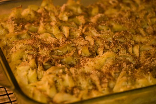 applesauce kugel with graham cracker crumbs and cinnamon