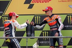 Dovizioso y Stoner, felices en el podio (Box Repsol) Tags: motogp lemans repsol stoner podio dovizioso caseystoner andreadovizioso repsolhondateam gpdefrancia equiporepsol pilotorepsol temporada2011