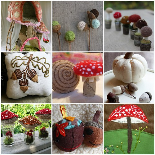 mushrooms and acorns