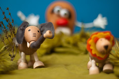 Mr. Potato Head Going Mad with Wild Animals (skippyjon) Tags: elephant forest toys bokeh lion mrpotatohead nophotoshop nikkor50mmf18 247 nikkor50 af5018d allreal anamalz sweatersleevesbushes thymetree toysandbokeh