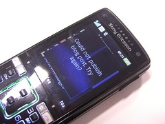 Could not publish blog post. Try again? - Sony Ericsson K850i