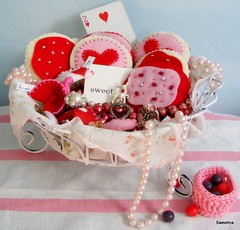 Valentine's vignette (Sweetina) Tags: pink flowers floral vintage hearts chair sweet furniture pastel stripes fabric card blogged knitted supplies cottagestyle vocabulary shabbychic dolltoy vintagewallpaper sweetina valentinesvalentinesday baskethandmade
