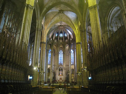 Inside the choir of Barcelona Cathedral