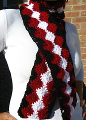 crochet red black & white scarf