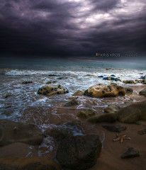 shifted lights (Kris Kros) Tags: ocean california ca light sky storm cold bird beach wet water rain weather rock clouds photoshop dark photography lights star book high sand nikon bravo rocks raw waves shadows dynamic pacific cloudy starfish 4 touch wave stormy malibu burn rainy be second dodge to edition range hdr soon kk released kkg the in d300 cs4 shifted jpgs photomatix kriskros a 1xp raws kktouch hdrbook kkgallery