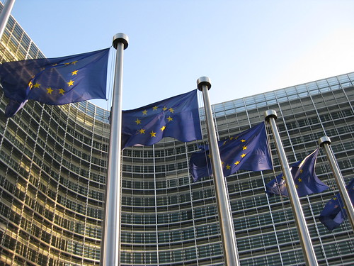 European flags flying in front of the Berlaymont