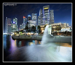 Merlion In Full Flow (Ragstatic) Tags: city longexposure travel light people urban holiday color tourism architecture composition buildings relax lights design photo google search nikon singapore asia exposure dof view nocturnal searchthebest angle heart designer rags famous perspective culture visit tourist calm structure explore architect photograph destination serene cbd depth nocturne dri singapura centralbusinessdistrict singaporecityscape uniquelysingapore d700 bratanesque singaporelandscape singaporeview