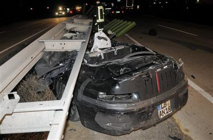 Weiterstadt, Germany: Camouflaged Porsche 911 Cabriolet prototype crash on Friday 13th, 2009, 2:45am, kills 51-year-old Porsche engineer who was with Porsche for 25 years.