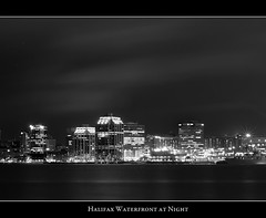 Halifax Waterfront at Night (Dave the Haligonian) Tags: city longexposure bw canada monochrome skyline lights blackwhite downtown cityscape novascotia nightshot nighttime nightscene halifax starburst nikkor50mm18d nikond90 halifaxwaterfrontatnight