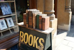 Wooden books outside Oxford bookshop