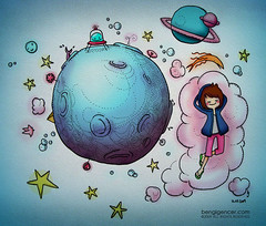 a trip to the moon (bengi gencer) Tags: travel sky moon cute illustration clouds stars alien galaxy bengigencer