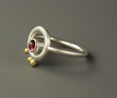Rose Cut Garnet Ring with 24k Gold