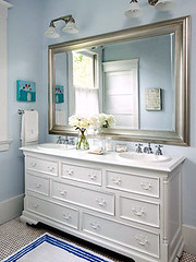White dresser with bureau vanity (decorology) Tags: betterhomesandgardens bathroomrenovation whiteinteriors summerdecorating brightbathrooms