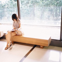 A summer afternoon  (Daa) Tags: life portrait people 6x6 girl square reading taiwan slide stranger snap bookstore taichung   eslite foldingcamera kodake100gx 500x500      taylorhobsonadotal80mmf28 kershawperegrineiii