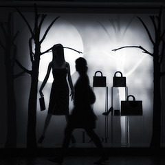 Fashion fades, only style remains the same. (www.LKGPhoto.com) Tags: bw woman mannequin window fashion silhouette print lasvegas quote squareformat caesarspalace dior 5for2 lkgphotography wwwlkgphotocom tookthiswhilesittingatatableatspagos ittookabout50snapsuntiligottheperfectpersonwalkingby