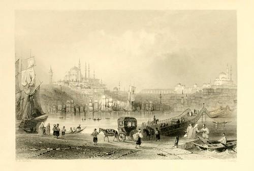 025- El puente flotante-Las bellezas del Bosforo 1838-W.H. Bartlett