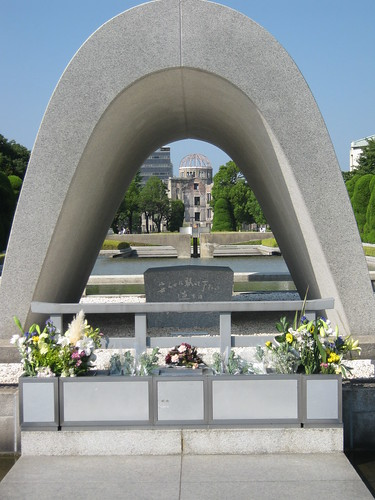 The cenotaph was designed so that you can see the Peace Flame and the Peace Memorial through its arch.