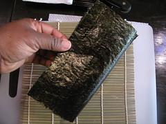 Splitting the sushi sheet in half