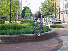 Photo: One skateboarder tore it up in front of the Silver Spring regional center last summer. Credit: Kim Bieler.