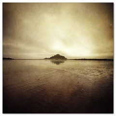 St Michael's Mount, Marazion, Cornwall. The minimal mount-edit #4 (s0ulsurfing) Tags: ocean old uk autumn sea england sky brown seascape art english fall texture beach water rain clouds composition photoshop canon square landscape island grey bay coast october cornwall mood skies moody cloudy pov wide perspective shoreline overcast wideangle ps minimal coastal shore coastline layers brooding gloom aged minimalism heavy raining nationaltrust isle 2009 minimalist autumnal edit compare stmichaelsmount cornish precipitation marazion kernow leaden 10mm westcornwall nimbostratus sigma1020 s0ulsurfing vertorama mountsbay