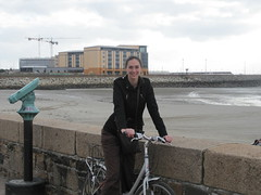 Suzy on her bike at St Helier