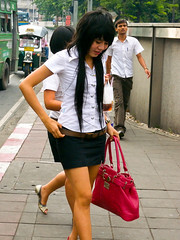 The Shortest Possible Student Uniform Skirt (GB-in-TH) Tags: thailand student uniform asia bangkok candid th krungthep bangrak   ramaivroad   rongmueang