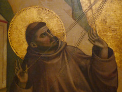 Giotto, St. Francis of Assisi Receiving the Stigmata, c. 1295-1300 with detail of Francis's face and hands