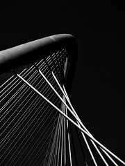 Zubizuri (paulgalbraith) Tags: bridge light white black lines shadows suspension bilbao cables santiagocalatrava zubizuri whitebridge campovolantinbridge