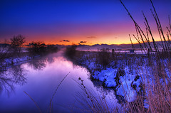 Canal just before Blue Hour (jssutt) Tags: sunset mist fog submitted canal utah getty bluehour hdr gettyimages daviscounty photomatix jssutt jeffsuttlemyre